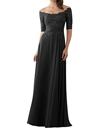 9abcfb62a814 JINGDRESS Evening Dresses Boat Neck Lace Appliques Wedding Guest Dresses  for Women Half Sleeves Beaded Black