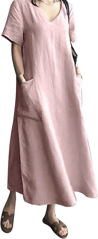 AUDATE Women's Maxi Dress Solid Plus Size Loose Cotton Linen Long Dresses with Pockets