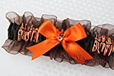 Customizable - Cleveland Browns fabric handmade into keepsake garter on brown organza bridal prom wedding garter with bow wks