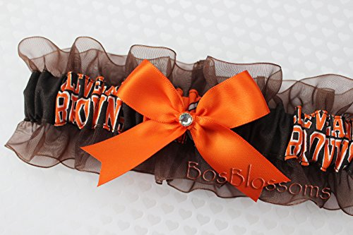 Customizable - Cleveland Browns fabric handmade into keepsake garter on brown organza bridal prom wedding garter with bow wks by BOYX Designs