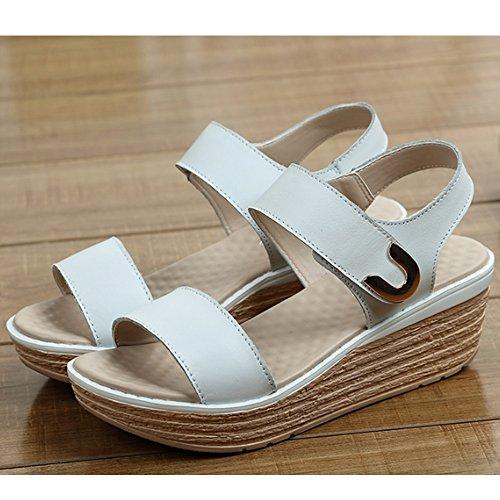 de Cómodo palabra femenino flojas verano 3 Zapatos la con el de color Zapatos las dulces con sandalias los la Pendiente salvajes Pendiente de altos simple deducción las de A sandalias talones sandalias vqIrv4w
