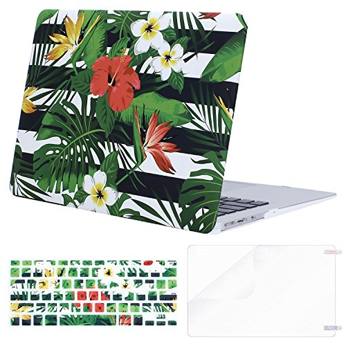 White Stripes Protector Case - MOSISO Plastic Pattern Hard Case Shell with Keyboard Cover with Screen Protector Compatible MacBook Air 13 Inch (Model: A1369 and A1466), Palm Leaves on Black & White Stripe Base