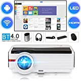 Smart Bluetooth HD Wireless Projector 4200 Lumen 2018 Android Wxga WiFi Projector Outdoor Movies,Suppot 1080P Airplay APPs HDMI USB 3.5mm Audio Multimedia Home Theater Cinema LCD LED Proyector