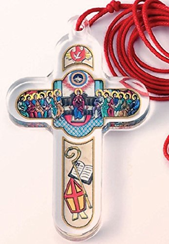 Confirmation Red String Necklace with Clear Illustrated Confirmation Cross Made in Italy