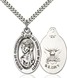 Sterling Silver Saint Christopher United States Navy Medal Pendant, 1 1/8 Inch