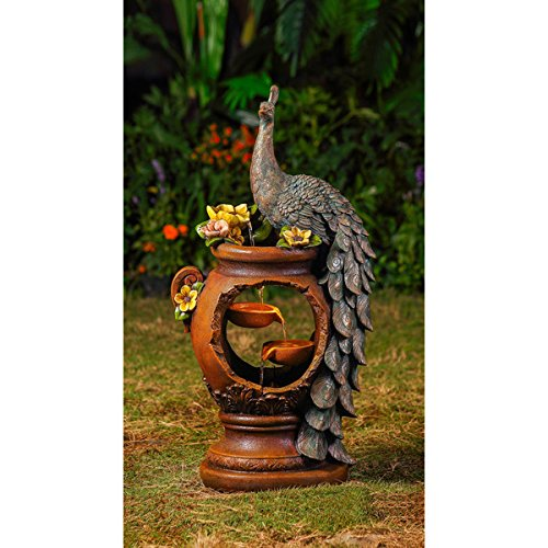 Jeco Peacock Polyresin/Fiberglass Water Fountain with LED Lighting BMSLLC