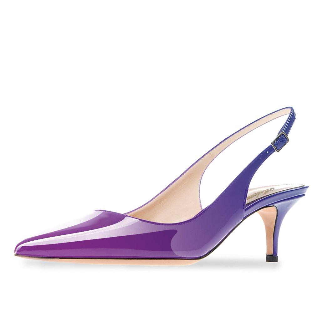 Modemoven Women's Purple Blue Patent Leather Pointed Toe Slingback Ankle Strap Kitten Heels Pumps Evening Stiletto Shoes - 10 M US