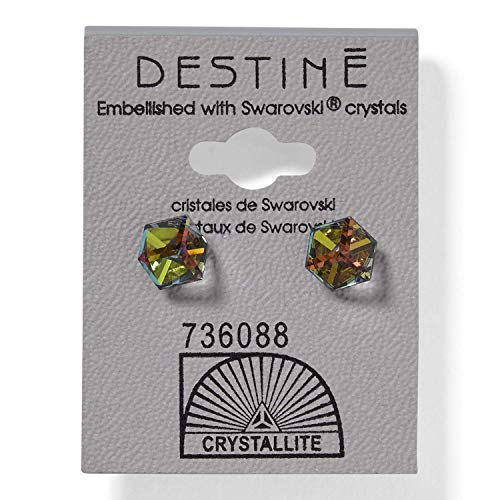 (Destine Austrian Crystal VM Tilted Cube Earrings)