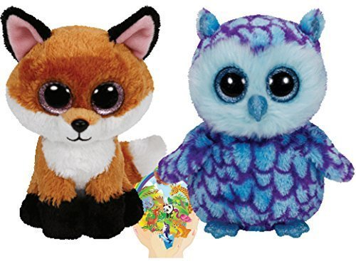 Ty Beanie Boos Oscar The Owl And Slick The Fox Gift Set Of 2 Plush Toys 6 8 Inches Tall With Bonus Animals Sticker