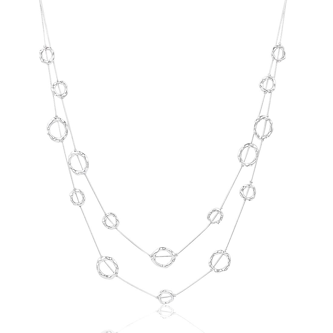 Silver Long Necklace Fashion Double Layered Sweater Necklace Hammered Loop Circle Long Necklace for Women