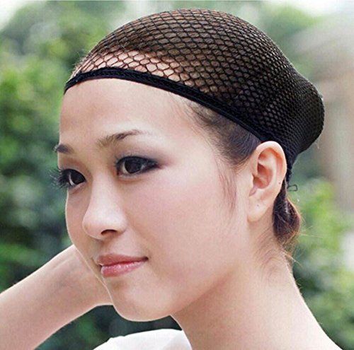 Wendy Hair Wig Cap Open End Black Mesh Hair Net 6 Pcs Nylon Net Mesh Cap for Long Hair