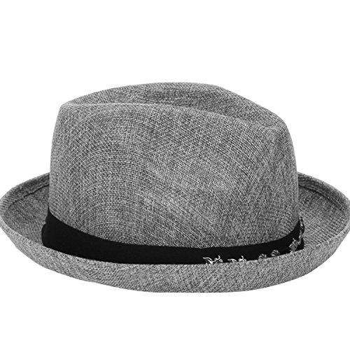 (2018 Korean Version of The Spring and Summer New Men's Hat Linen Jazz Hat Sun,Dark Grey,M (56-58cm))