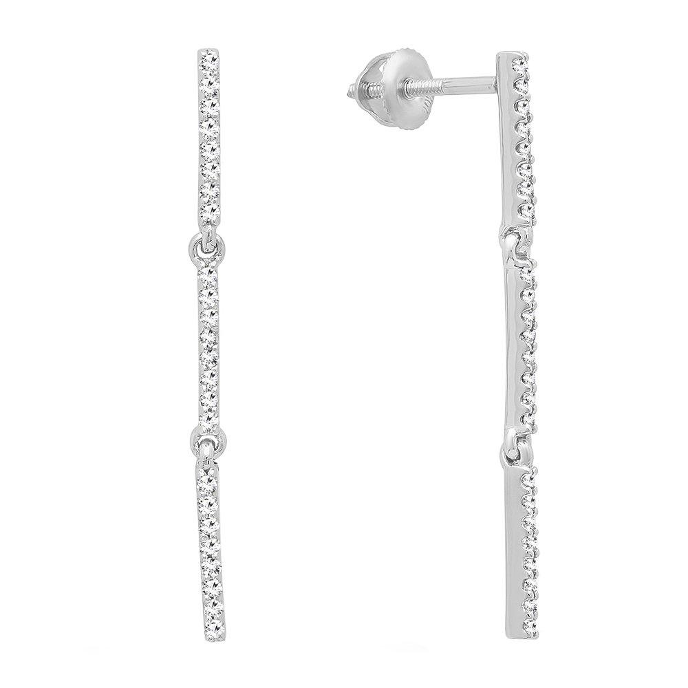 0.25 Carat (ctw) 10K White Gold Round White Diamond Ladies Linear Bar Drop Earring 1/4 CT