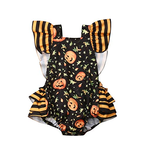 LBPSUUEW Newborn Infant Baby Girl Halloween Clothes Pumpkin Print Romper Bodysuit Clothes Outfits - 4 Pumpkin Lb