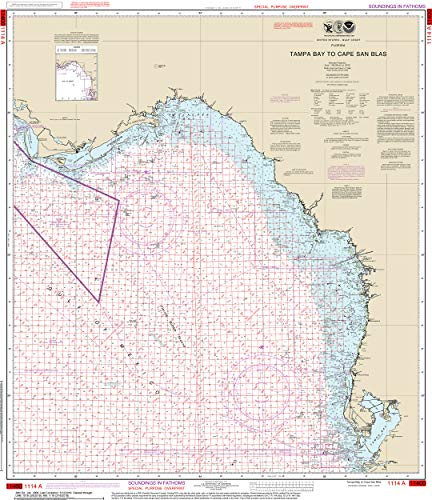 Tampa Bay Area Map - Nautical Map Poster - Tampa Bay to Cape San Blas (Oil and Gas Leasing Areas), Gloss finish
