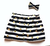 Black and white striped skirt with gold polka dots, baby or toddler girl's skirt.
