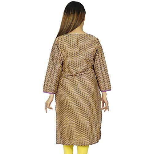 Étnica Kurti diseñador indio de Bollywood regalo del vestido ocasional de la túnica del Top Para Ella mujeres Amarillo y morado