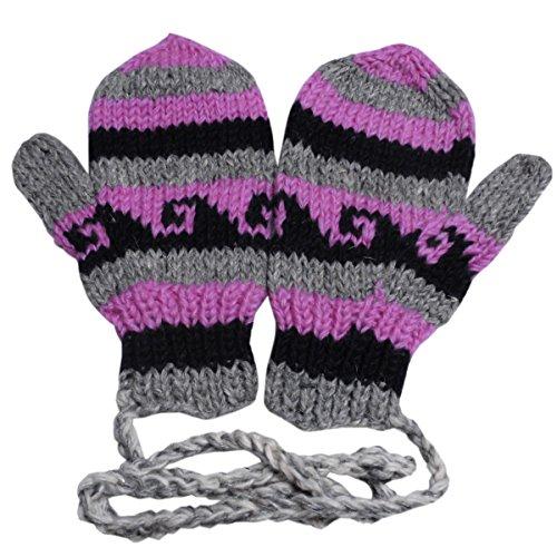 マイルド地域楽しい【ノーブランド品】 アジアン衣料 ネパール?ウール紐付きミトン手袋 NBN-25