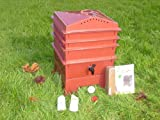 3-Tray Worm Compost Bin with Free Thermometer and Coconut Mat-Terracotta
