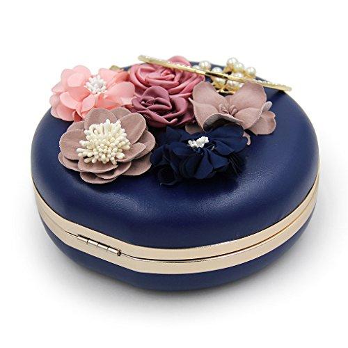 borsa fiore borsa Albicocca donna da frizione matrimonio cena tracolla albicocca rotonda Dabixx a cena sera Chic 1qYPH