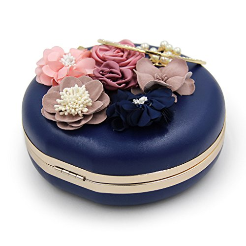 Wedding Flower Blue Women Party Bag Blue Evening Shoulder Dinner Chic Clutch Round Handbag Shoresu Xaw8qa