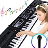 #1: Digital Music Piano Keyboard 61 Key - Portable Electronic Musical Instrument Multi-function - with Microphone Kids Piano Musical Teaching Keyboard Toy Birthday Christmas Festival Gift for Kids