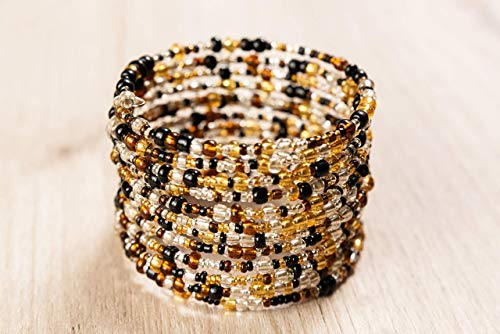African Bracelet for Women - Maasai Jewelry - Beaded Wrap Bracelet - Handmade in Kenya - Different Shades of Brown, KB008
