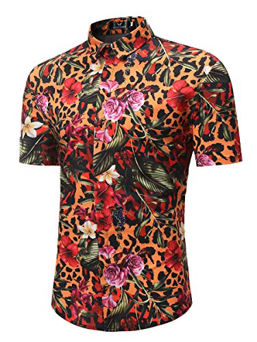 4f103ff53 MYMSTORM Men's Flower Short Casual Aloha Beach Tropical Button Down Short  Sleeve Hawaiian Shirt