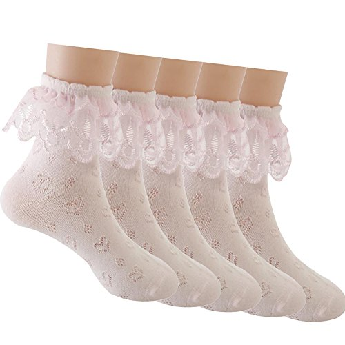 (Sept.Filles Socks Girl's Socks Lace Top Anklet Socks Packs of 5 (L(7-11y),)