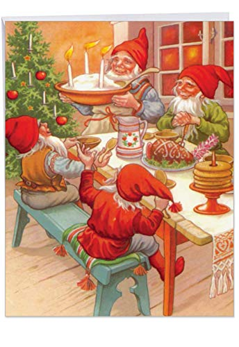 Gnome for the Holidays - Retro Merry Christmas Card with Envelope (Big 8.5 x 11 Inch) - Classic Gnome Family Dinner, Sweet Season's Greetings - Vintage Happy Holidays Stationery J6440BXSG ()