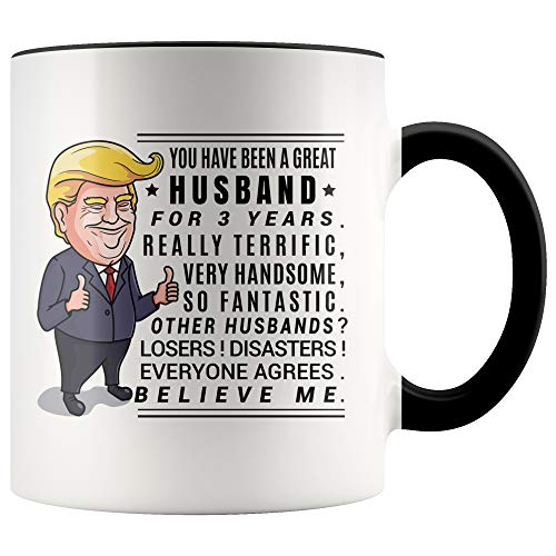 YouNique Designs 3 Year Anniversary Coffee Mug for Him, 11 Ounces, Trump Mug, 3rd Wedding Anniversary Cup For Husband