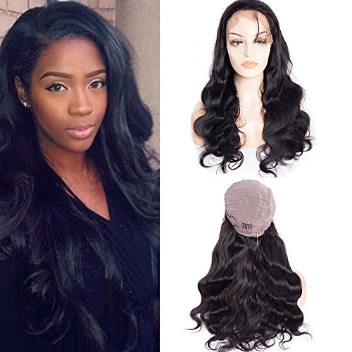 Maxine Hair Body Wave Lace Front Wigs with Baby Hair 180% Density Brazilian Glueless Body Wave Wigs Human Hair Wigs for Black Women Natural Color(16inch) ()