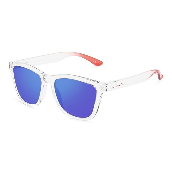 Originales gafas de sol polarizadas con montura transparente y patillas terminadas en rojo.