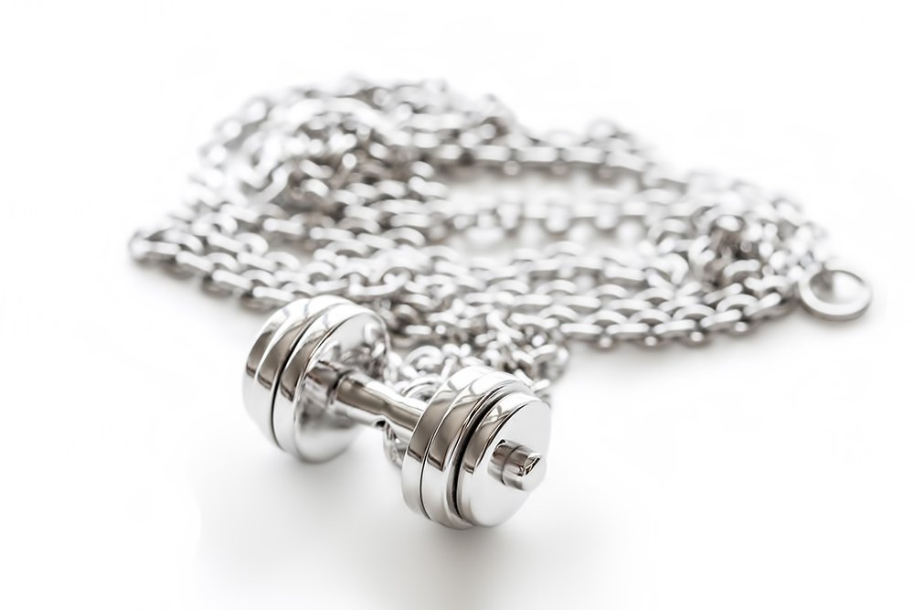 Fitness Necklace Sterling Silver Triple Plate Dumbbell Pendant Gym Jewelry (Without Chain, just Pendant)