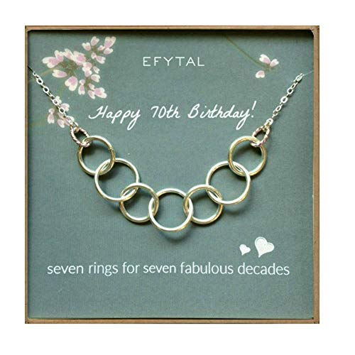 EFYTAL Happy 70th Birthday Gifts for Women Necklace, Sterling Silver 7 Rings Seven Decades Necklaces Gift Ideas