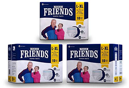Friends Premium Adult Diapers Pant Style – 30 Count -L- with odour lock and Anti-Bacterial Absorbent Core- Waist Size 30…