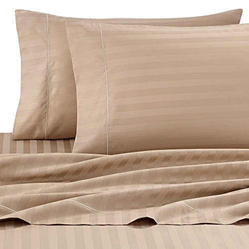 Taupe Damask Stripe - Wamsutta Damask Stripe 500-Thread-Count PimaCott King Sheet Set in Taupe Beige