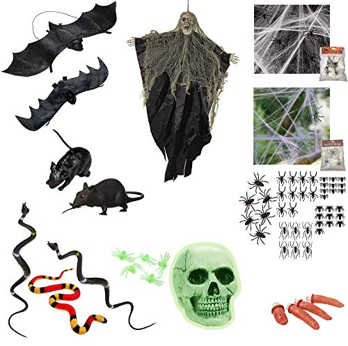 Halloween Decorations Set with Assorted Props A Scary Kit Bundle Bats Rats Snakes Set Spiders Hanging Zombie Spider Webs Glow in The Dark Skull and More Halloween Party Supplies and Decor Set