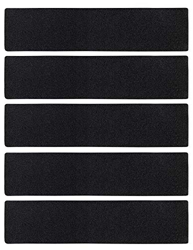 - Stair Treads Collection Indoor/Outdoor Black Pre Cut 80 Grit Extra Friction Anti Slip Safety Strips Non Skid Adhesive Stair Treads (6 inch x 24 inch) (Black, Set of 5)
