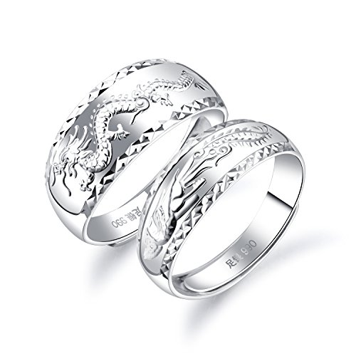 Silver Sterling Dragon Chinese - Fate Love 2 pcs Sterling Silver Chinese Feature Lucky Dragon Phoenix Carved Couple Ring Wedding Band Set Adjustable Size