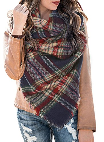 Plaid Tartan Scarf Fall Winter Cashmere Blanket Scarves Buffalo Checked Wrap Shawl Navy and Red