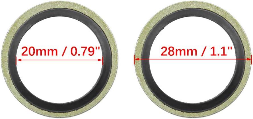 X AUTOHAUX Lot de 10 Joints de Bouchon de vidange 20 mm ID 28 mm OD.