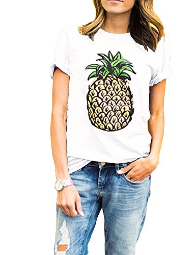 Haola Women's Pineapple Printed T Shirt Short Sleeve Funny Graphic Tops Juniors Tees M White (Juniors White Graphic)