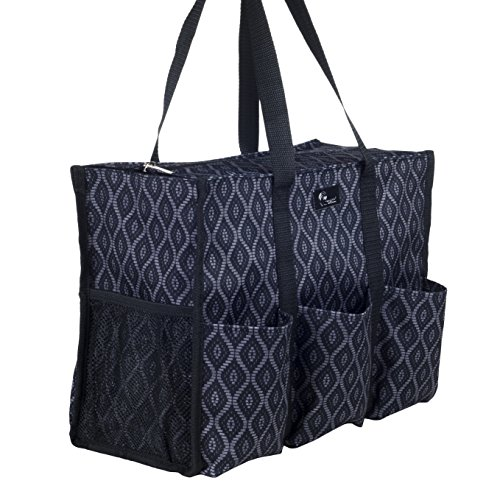 (Pursetti Zip-Top Organizing Utility Tote Bag with Multiple Exterior & Interior Pockets for Working Women, Nurses, Teachers and Soccer Moms (Black Trellis) )