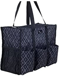 Zip-Top Organizing Utility Tote Bag with Multiple Exterior & Interior Pockets for Working Women, Nurses, Teachers and Soccer Moms (Black Trellis_Large)