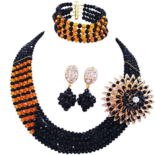 aczuv African Wedding Jewelry Set Nigerian Beads Necklace Bridal Jewelry Sets (Black Orange) (American Indian Jewelry Black)