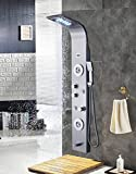 Shower Head Systems ELLO&ALLO Stainless Steel Shower Panel Tower System,LED Rainfall Waterfall Shower Head 5-Function Faucet Rain Massage System with Body Jets Fingerprint-free, Brushed Nickel