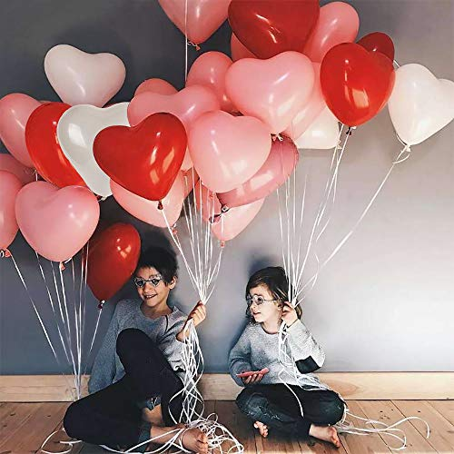Heart Shape Latex Balloons for Valentines Day,Propose Marriage,Wedding Party(White+Red +pink)3 Style, 12 Inch ()