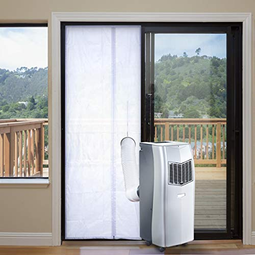 Air Jade Flexible Door Seal for Portable Air Conditioner, 35 x 82 inch, Zip Exhaust Hose Access, Adhesive Tape Fastener, Air Block Screen for Sliding Door
