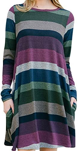 0bcddb64769 OLYR Women's Striped Shirt For Leggings Casual Long Sleeve Swing Tunic Shirt  Dress With Pockets